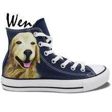 Wen Blue Hand Painted Shoes Design Custom Large Golden Retriever Pet Dog High Top Men Women's Canvas Sneakers