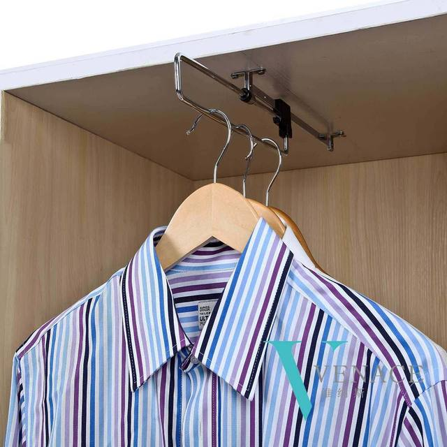 Wardrobe Accessories Top Mounted Pull Out Rail Closet Hanger