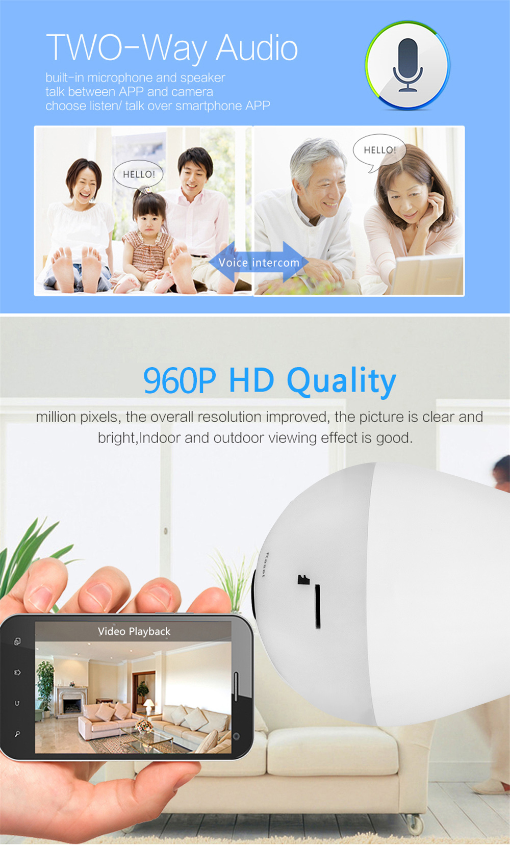 Wistino 960P Wireless VR Panoramic IP Camera Bulb Light Wifi FishEye 360 degree CCTV Surveillance Security Monitor Comone 1 (5)
