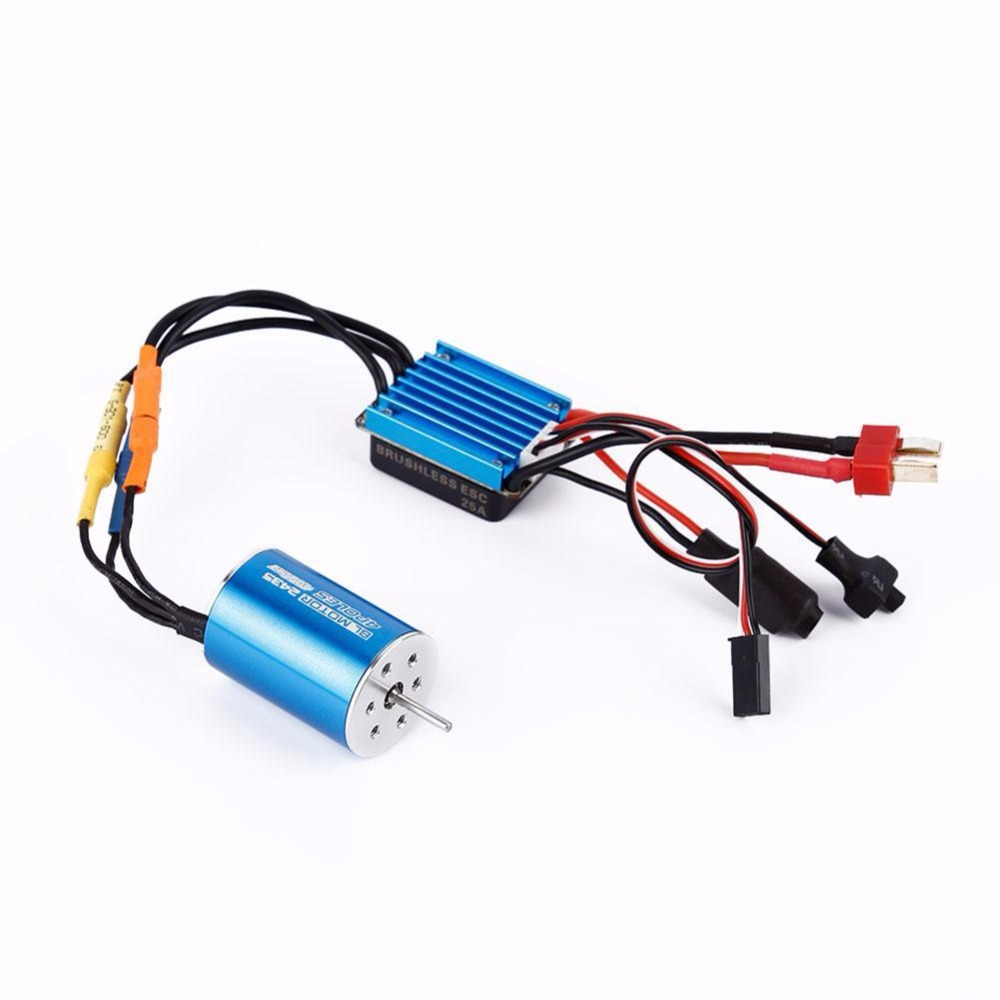 2435 4800KV 4P Sensorless Brushless Motor+25A Brushless ESC for 1/16 RC Car 3650 3900kv 4p sensorless brushless motor 60a brushless elec speed controller esc w 5 8v 3a switch mode bec for 1 10 rc car