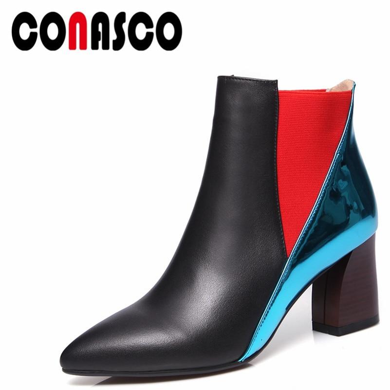 Chaussures Conasco Moto Nouvelle Marque Bottes formes 1 Noir Talons Courtes Véritable Sexy Épais Pompes Martin Cuir Femme Hauts Plates En wmnN8v0