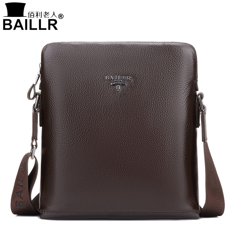 BAILLR 2017 Brand 100% Genuine Leather Mens Crossbody Bag Casual Business Mens Messenger Bag Real Cowhide Small Shoulder Bags