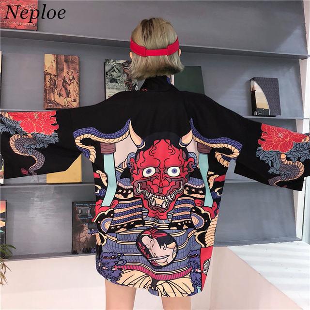 Neploe Mùa Hè 2019 Bông Tai Kẹp Áo Phụ Nữ Người Áo Khoác Cardigan Kimono Nhật Bản Hoạt Hình In Hình Rời Áo Blusas Mujer De Moda 35867
