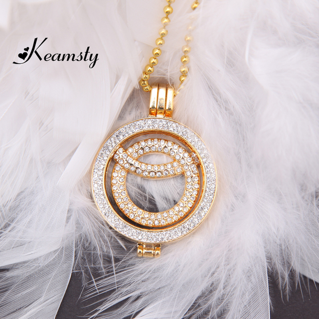 Aliexpress buy keamsty new design hollow circular ring gold keamsty new design hollow circular ring gold coin disc with crystal coin holder pendant necklace set aloadofball Gallery