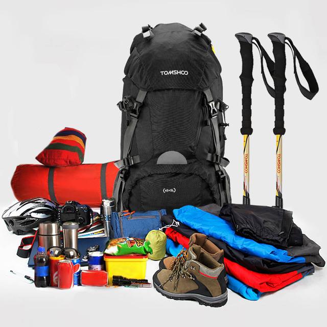 TOMSHOO Unisex 45+5L Travel Backpack Knapsack Outdoor Sport Hiking Camping Backpack Mountaineering Bag Tactical Backpack