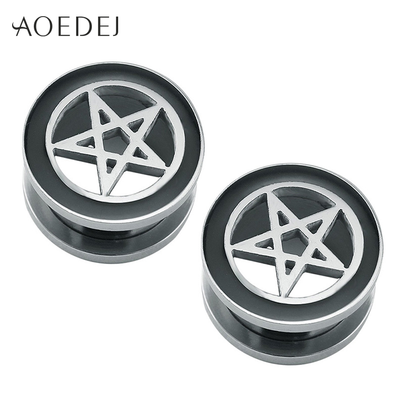 8-16mm Star Tunnels Ear Plugs Gauge Flesh Tunnel Stainless S