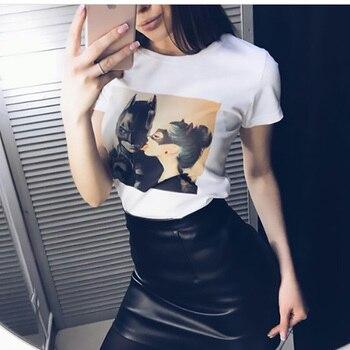 Nueva moda verano mujeres Tops Batman y Catwoman camiseta de beso de moda Cool camiseta camisetas