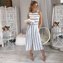 Summer Women's Strap Vertical Striped Jumpsuit Sleeveless Backless Long