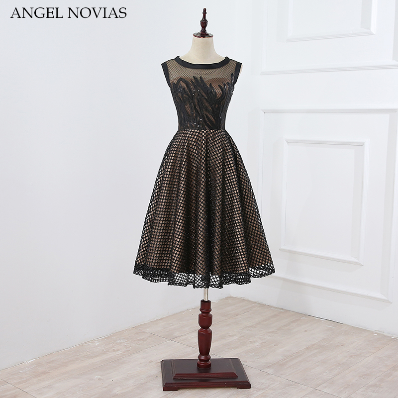 Angel Novias Tea Length Black Lace Cocktail Dress 2018 Women Short Party Dress Vestidos De Coctel