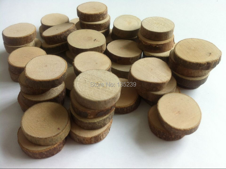 Wood Craft Discs With Bark
