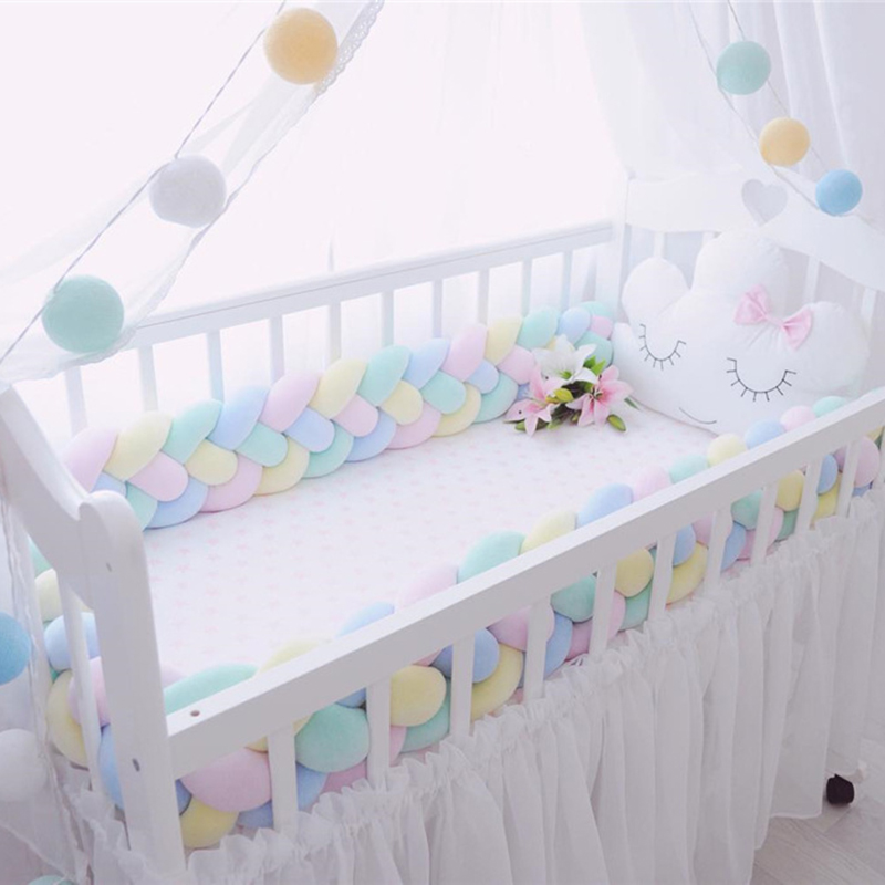 200cm Baby Bed Bumper Four Ply Braid Weaving Plush Baby Crib Protector Infant Crib Bumpe ...
