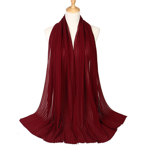 Image 5 - Fashion plain pleat bubble chiffon wrinkle scarf long stripe shawls hijab crumple pashmian muslim scarves/scarf 10pcs/lot