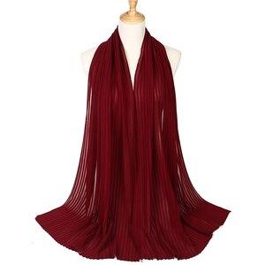 Image 5 - Mode Vlakte Plooi Bubble Chiffon Rimpel Sjaal Lange Streep Sjaals Hijab Crumple Pashmian Moslim Sjaals/Sjaal 10 Stks/partij
