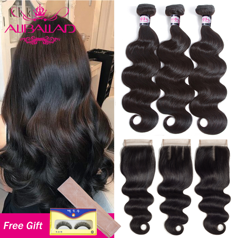 Aliballad Brazilian Body Wave Bundles With Closure 4x4 Inches Brazillian Remy Human Hair Weave Extension 3