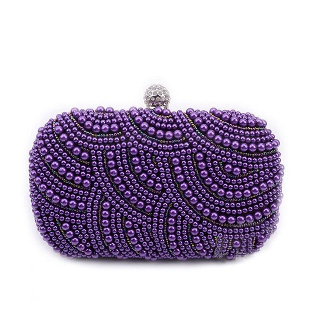 New 2017 Purple Pearl Evening Bags Blue Black Beaded Clutch Bag Wedding Bridal Clutches Party Dinner Purse Chains Handbag XA501H