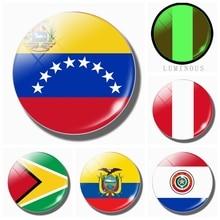 South American Flag 30MM Luminous Refrigerator Magnet Guyana Paraguay Peru Venezuela Ecuador Fridge Magnets Glass Souvenir