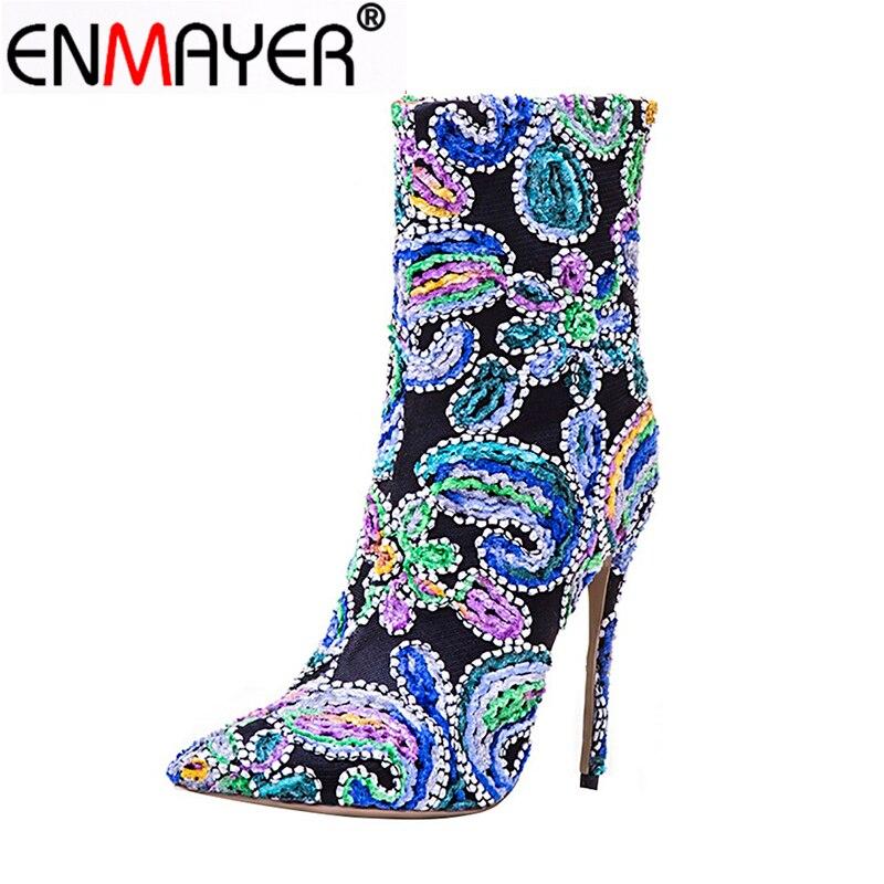 ENMAYER Cizme de iarnă pentru femei StillettoPointed Toe Zippers - Pantofi femei