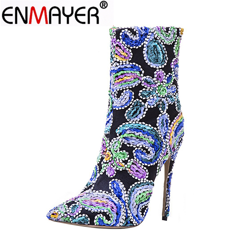 ENMAYER Women Winter Boots StillettoPointed Toe Zippers Retro Mid-Calf Women Embroider Extreme High Heels Pumps Plus Size 34-43 zippers double buckle platform mid calf boots
