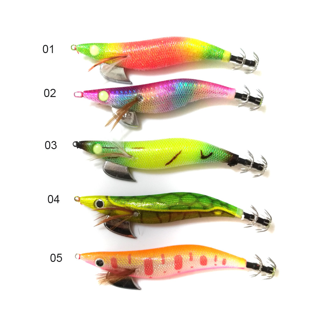 5ks 13mm 18g chobotnice hák Rybářské návnady mix 5 barev Squid Jigs dřevěné krevety návnady