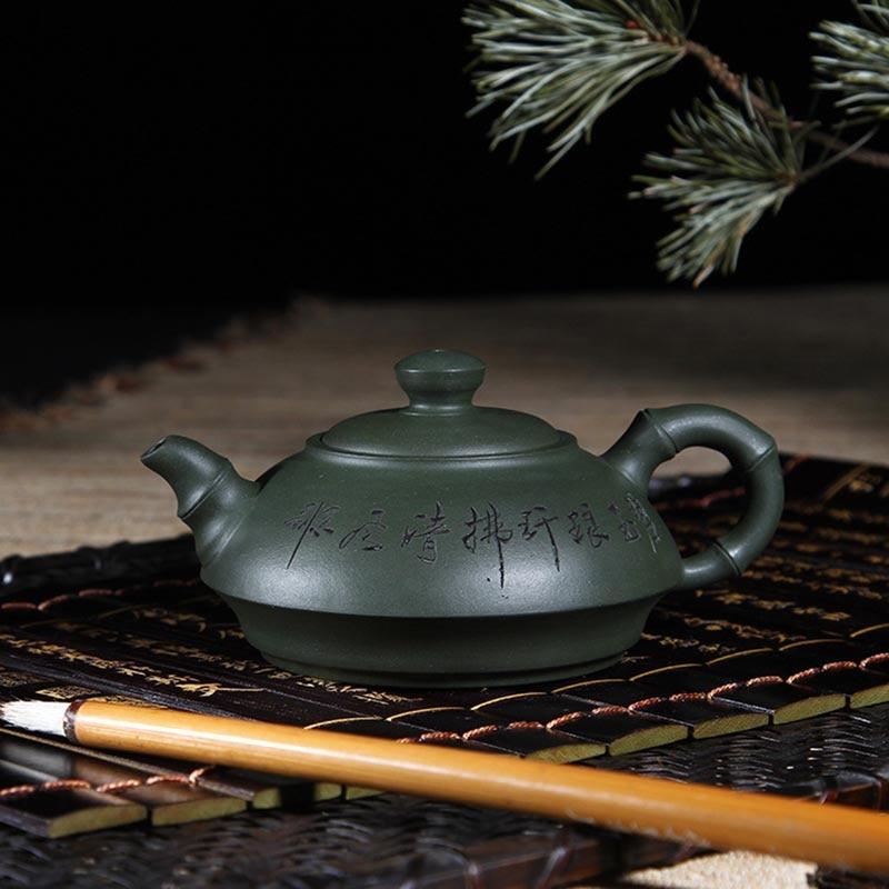 Ev ve Bahçe'ten Çay Takımı Setleri'de 180 ML Otantik Yixing Mor Kil Demlik Ham Cevher Yeşil Çamur Zisha Pot 7 Delik Ev Çay Töreni Vintage Pu'er çay su ısıtıcısı Hediyeler title=