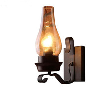Vintage Iron Wall Lamps American Bar Wall Lights Personalized Clear Glass Lamp cover Led Sconce Indoor Wall Lights For Home loft industiral retro wall lamp glass flower cover iron wall light hotel bar indoor two wooden wall mounted swing arm lights
