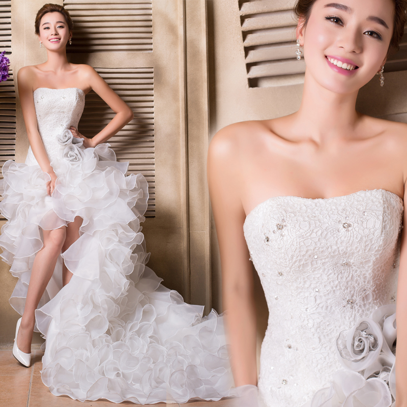 Rivini Lace Tiered Wedding Gown: Ball Gown Lace High Low Wedding Dresses Tiered Ruffles