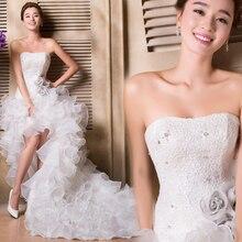 공 가운 레이스 높은 낮은 웨딩 드레스 계층화 된 주름 Organza 신부 가운 웨딩 드레스 Vestidos De Novia Robe De Mariee