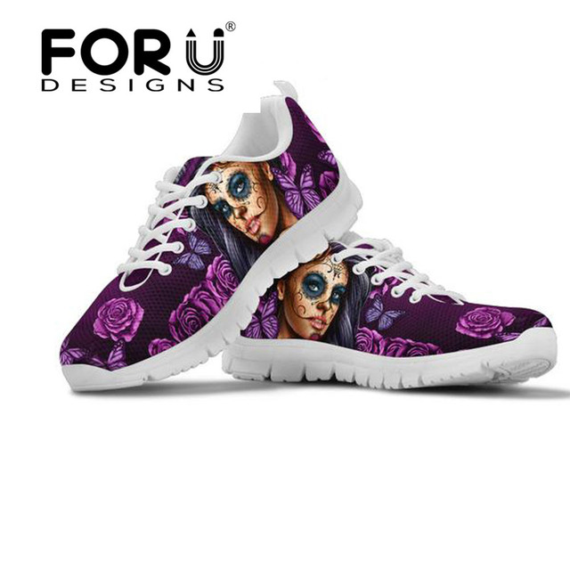 FORUDESIGNS Fashion Women Flats Shoes Calavera Girl Day of The Dead Print  Mesh Breathable for Ladies Casual Sneakers Walking b851b5bfcd4b