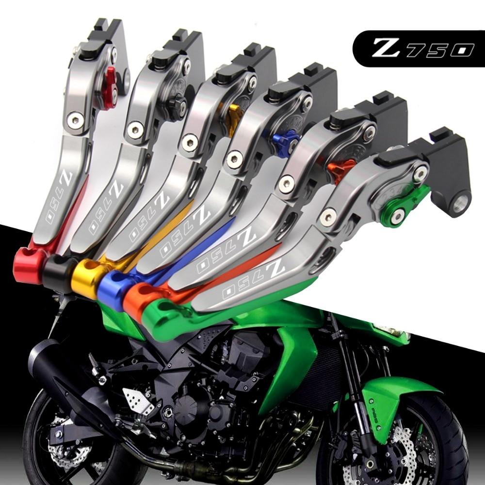 2004-2006 2005 Green+titanium Cnc Folding Motorcycle Brake Clutch Levers For Kawasaki Z750 Z 750 Nice !logo z750 not Z750s Model