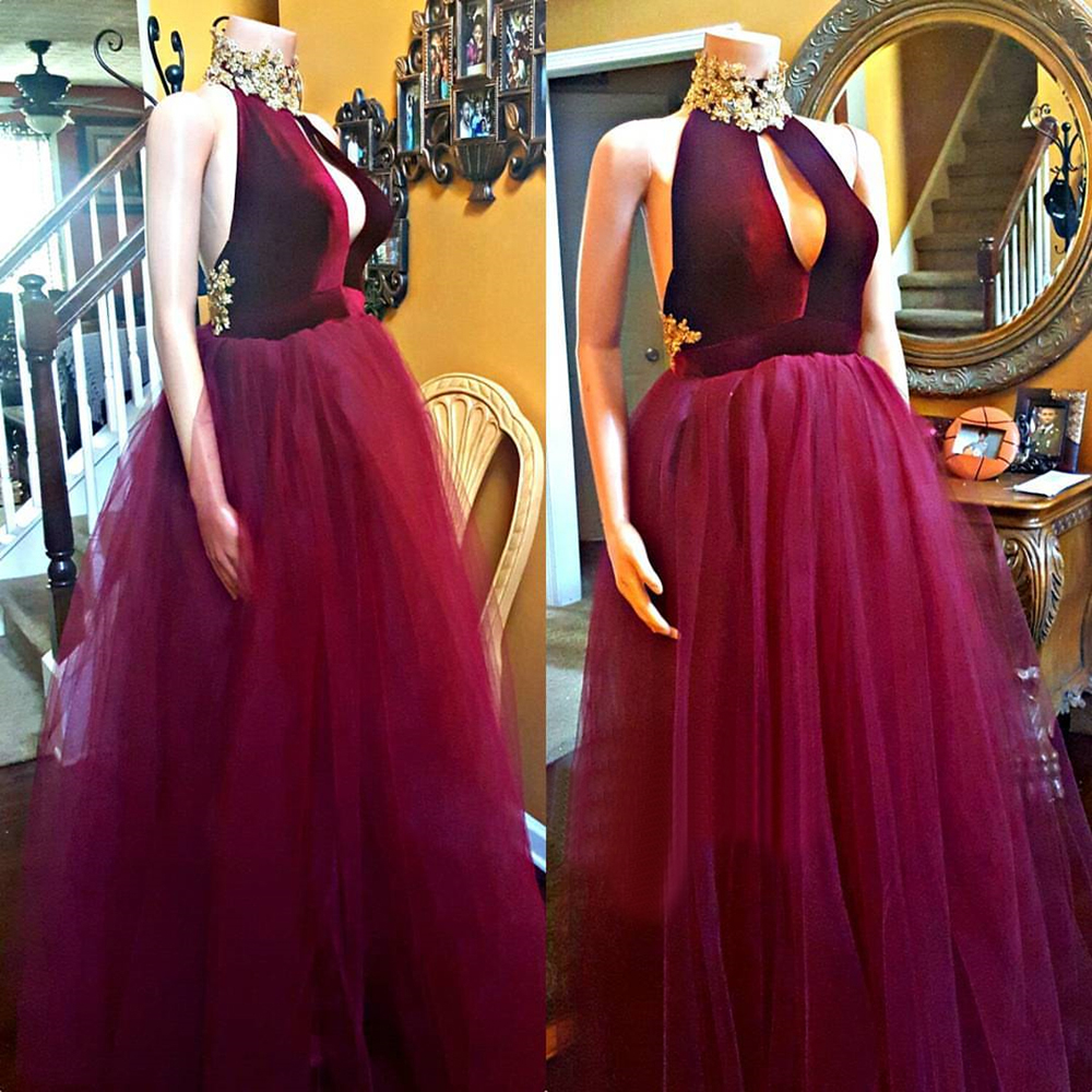 New Purple Tulle A Line Long   Evening     Dress   Backless High Neck Floor Length Formal Occasion   Dresses   2019 New Wedding Party Gowns