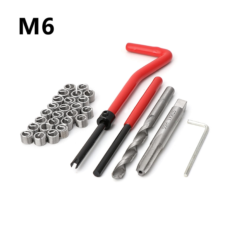 30 pcs Carro Pro Bobina Broca Ferramenta Kit de Reparação de Rosca Métrica Inserção M6 para Helicoil Ferramentas Do Reparo Do Carro Grosso Pé de Cabra