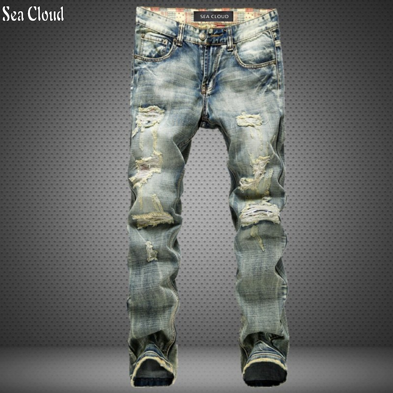 82 Free shipping plus size 28-42 long jeans men loose straight casual holes pants male Full Length jeans Distressed