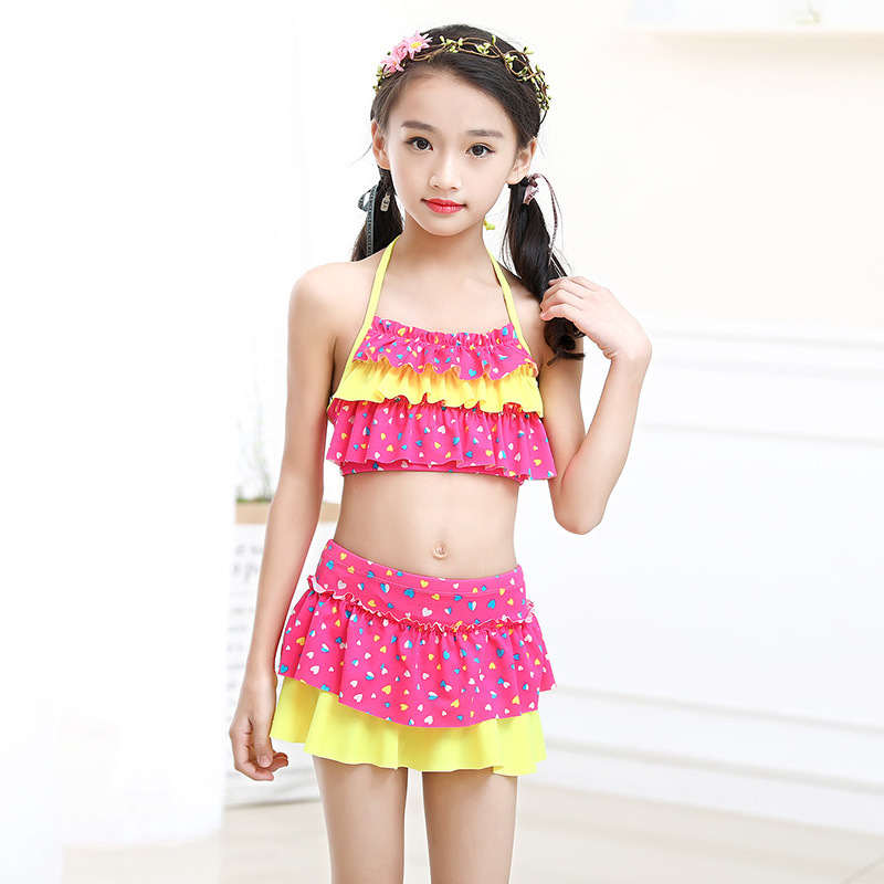 6100f483a12d3 1-14 Years Print Baby Girl Bikini Children Two Piece Swimsuit Kids Swimwear  Halter Top Toddler Girl Bathing Suit Skirt Teenagers