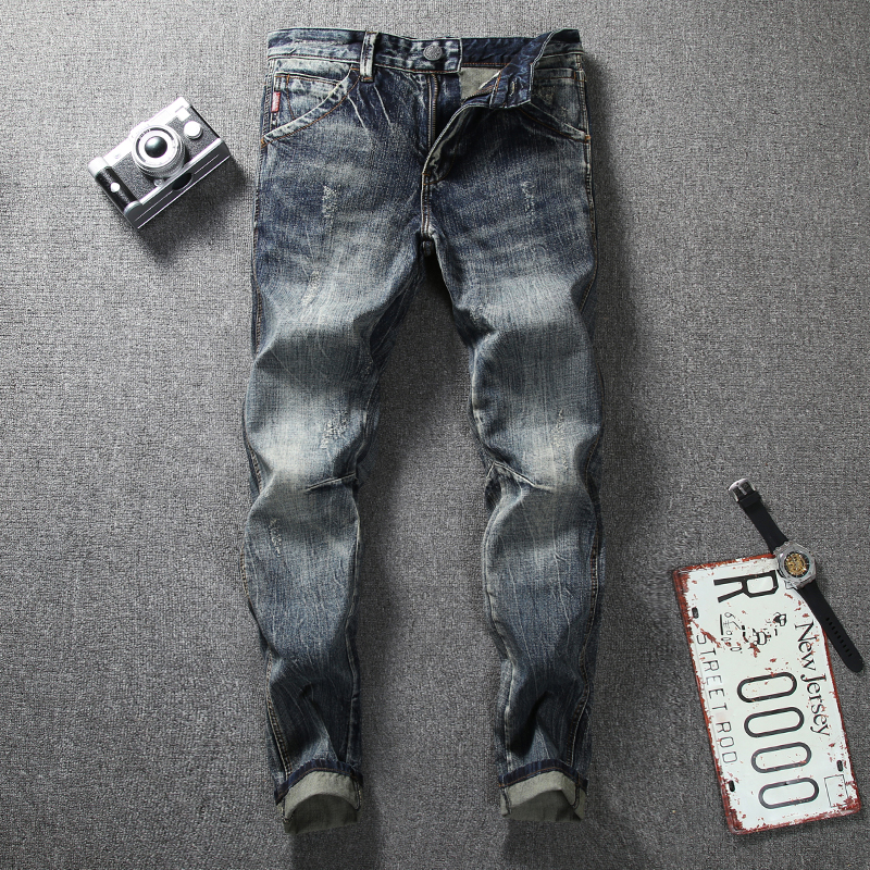 Newly Fashion Men's Jeans Retro Vintage Designer Slim Fit Classical Jeans Cotton Denim Pants Superably Brand Biker Jeans Men 206