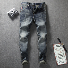 купить Newly Fashion Men's Jeans Retro Vintage Designer Slim Fit Classical Jeans Cotton Denim Pants Superably Brand Biker Jeans Men 206 дешево