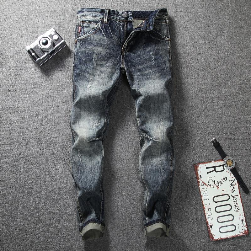 Bescheiden Nieuw Fashion Jeans Retro Vintage Designer Slim Fit Klassieke Jeans Katoen Denim Broek Superably Merk Biker Jeans Mannen 206