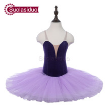 Children Blue Professional Stage Ballet Tutu Costumes Kids Purple Classical Performance Competition Apperal Adult Skirt