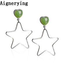 925 silver Certificate Natural Green Jade Star Jewelry Dangle for Women Girl Jewellery vintage Earrings With Gift Box