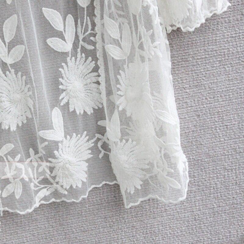 Chaqueta de Punto de encaje de Ganchillo Floral Bordado Blusa Kimono ...