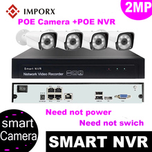 цена на IMPORX New 4CH HD 1080P POE NVR CCTV Security System 2MP Smart PoE IP Camera IR P2P Video Surveillance Kit Outdoor H.265 Camera