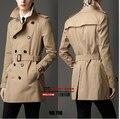 Envío de la venta Caliente Nuevos hombres de la marca casual Inglaterra Primavera Delgado cruzado trinchera abrigo capa de la chaqueta A Prueba de Viento abrigos/S-6XL