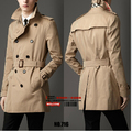 Free Hot sale New Men's brand casual Windproof coats England Spring Slim double-breasted trench coat Overcoat jacket  /S-6XL