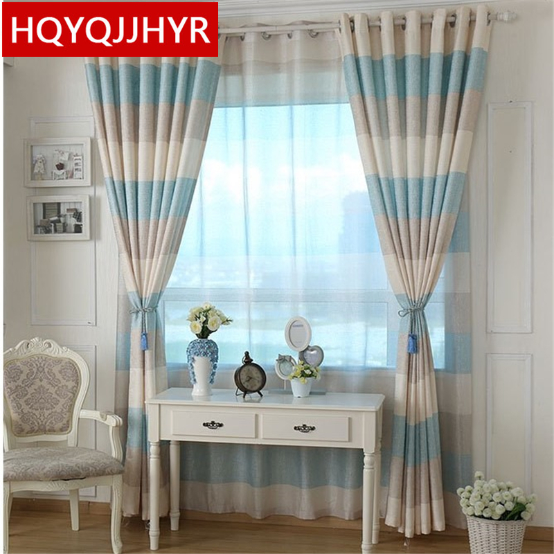 Colorful Living Room Curtains: Colorful Mediterranean Specialties Striped Style Blackout