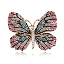 Elegant Full Rhinestone Butterfly Brooch Pins For Women Men Party Jewelry Accessories Lapel Brooches 3 Colors