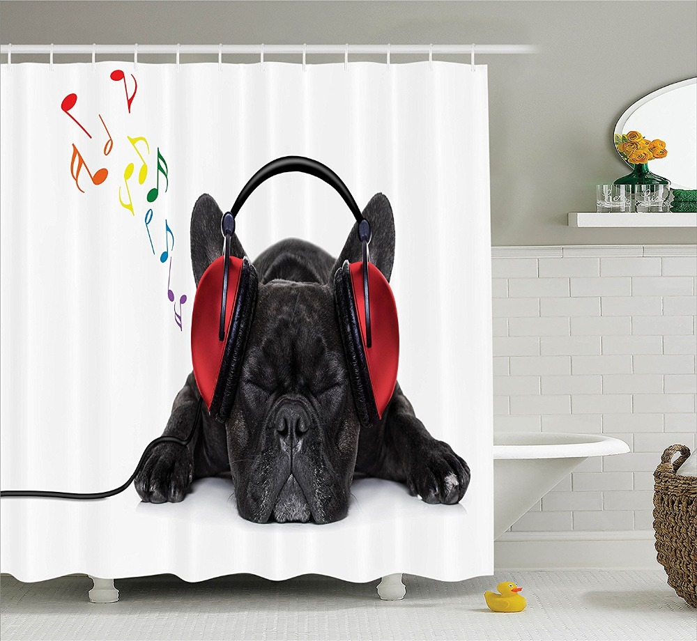 Music bathroom set - Shower Curtain Funny Bulldog Listening To Music Printing Waterproof Mildewproof Polyester Fabric Bath Curtain Set