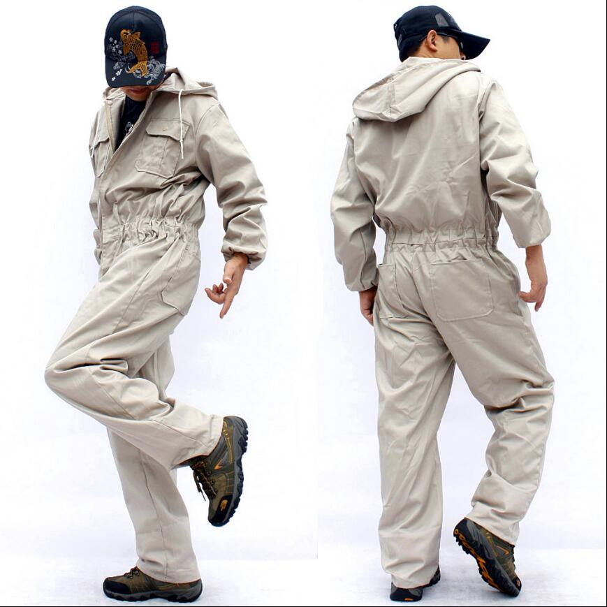 S-4xl Autumn And Winter Men's Casual Hooded One-piece Jumpsuit Loose Large Size Long-sleeved Work Clothes Uniform Overalls