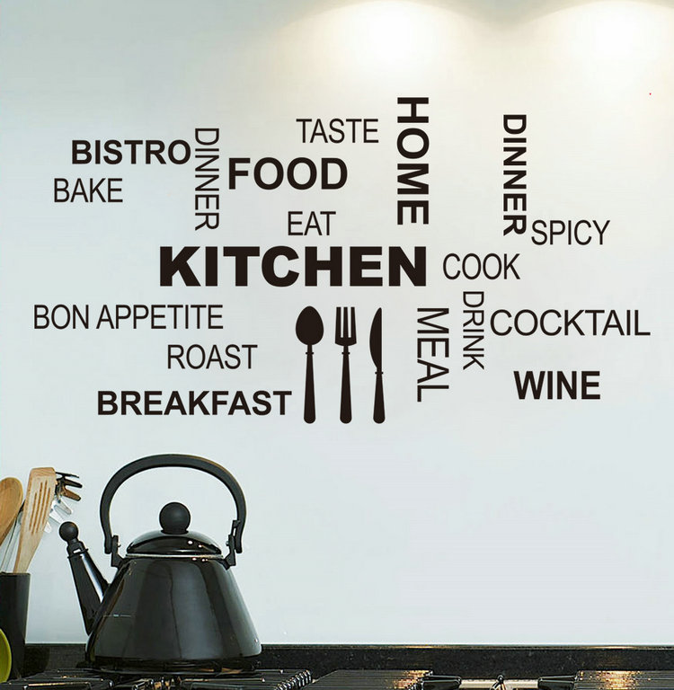 New Arrival Kitchen Quote Stickers Decor Home Fork Spoon Food Eat Vinyl Wall Sticker Adesive