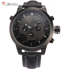 De luxe shark sport montres crâne cadran 6 mains jour date 24 heures Noir Bracelet En Cuir Horloge Hommes Tag Militaire Quartz-montre/SH210