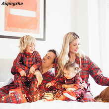 Baby Rompers Family Matching Christmas Pajamas Father Son Shirt Pants Plaid Couple Pyjamas Mother and Daughter Clothes New Year(China)