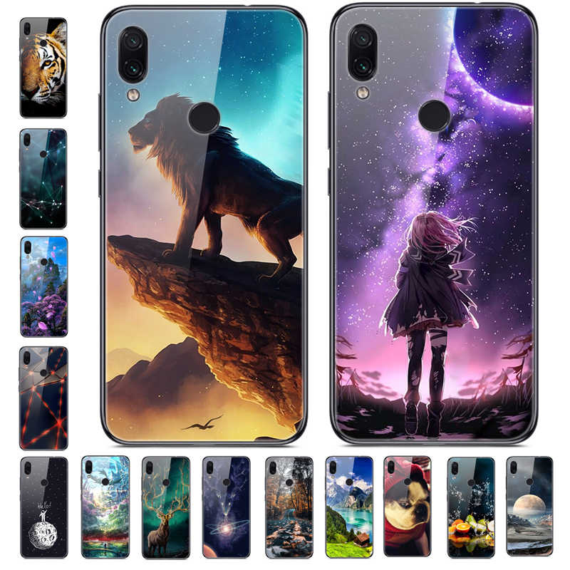 6.3'' For Xiaomi Redmi Note 7 Case Glass Back Hard Cover For Xiaomi Redmi Note 7 Case Note7 Soft Bumper Tempered Case Note 7S